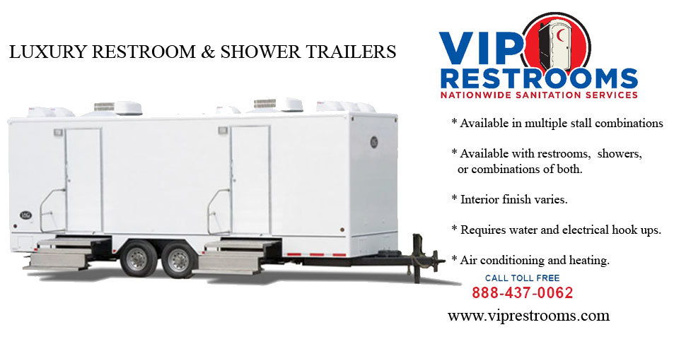 Lease vip shower trailers low cost portable shower for Bathroom trailer rental