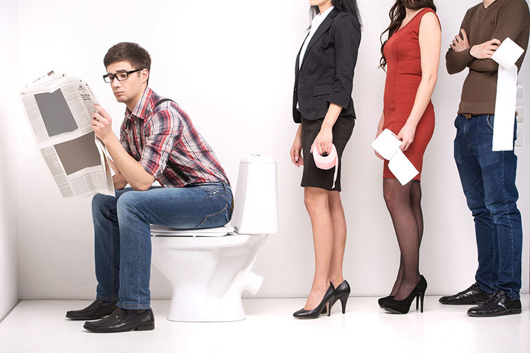 Guy on toilet with line waiting