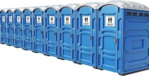 line of porta potties